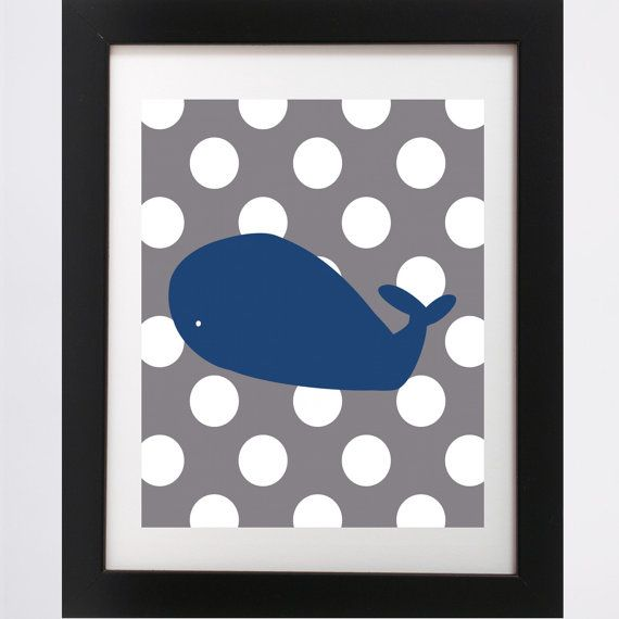 Polka Dot Whale Poster (Land of Nod, Baby, Shower, Print, inspired, nautical, DIY, sailor, nursery, baby room, custom, navy, gray)