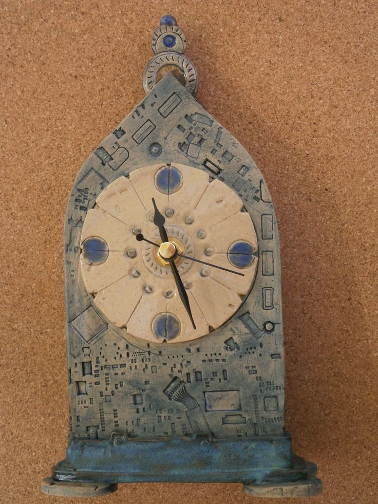Ceramic Cyber clock - Blue mantel clock - Shelf clock with computer circuit board pattern - Stoneware clock by BlueButterflyCrafts on Etsy