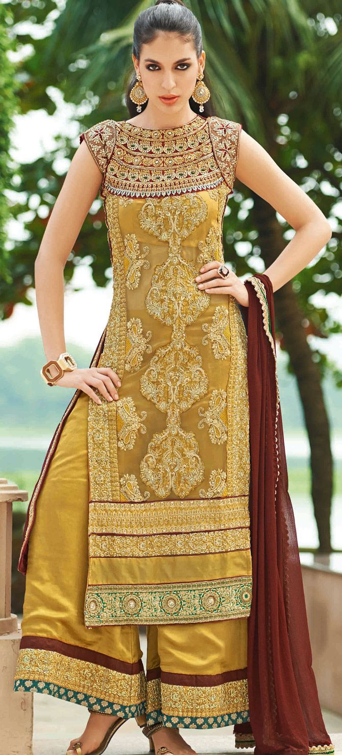 Wedding Special Golden Embroidered Pakistani Salwar Kameez When DesignWhen Designs Meet