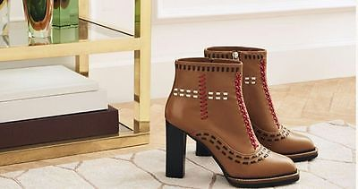 AUTHENTIC Tod's Stitched Leather Stack-Heel Booties Sizes:37.5, 38, 38.5 and 41