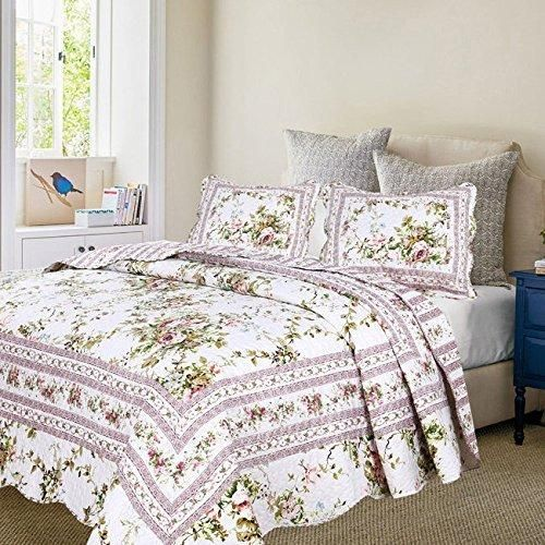 pink grey red green white king quilt set floral themed