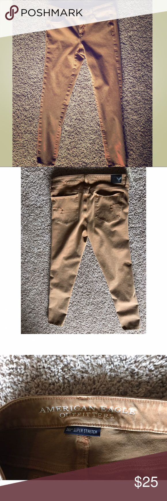 American Eagle Khaki Skinny Jeans WORN ONCE. Fit like a glove! Can fit anywhere between size 6-12. Stretchy to fit any shape. NOT DENIM. American Eagle Outfitters Pants Skinny