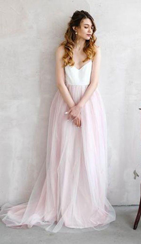 33517aa47b CHEAP LIGHT PINK WEDDING DRESSES SPAGHETTI STRAP TULLE BEACH WEDDING DRESS  WD338 #weddingdress #weddings #straps #dreamwedding #tulle