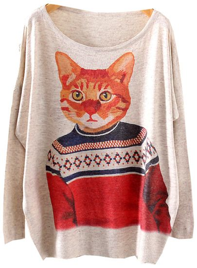 Grey Batwing Long Sleeve Cat Print Loose Sweater pictures