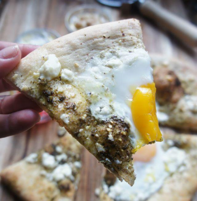 Israeli breakfast pizza slice