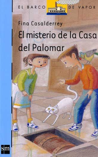 """""""EL MISTERIO DE LA CASA DEL PALOMAR"""" de Fina Casadelrrey, Editorial SM. La abuela Rosa y los gemelos Rita y Ramón, escoltados por su legión de mascotas (un perro, un gato y cuatro periquitos), se instalan en la Casa del Palomar, una vieja mansión abandonada de pésima reputación. En el pueblo ninguna persona se atreve siquiera a mencionar su nombre, pero los nuevos inquilinos parecen no saber nada.  Recién instalados, empiezan a suceder cosas extrañas..."""