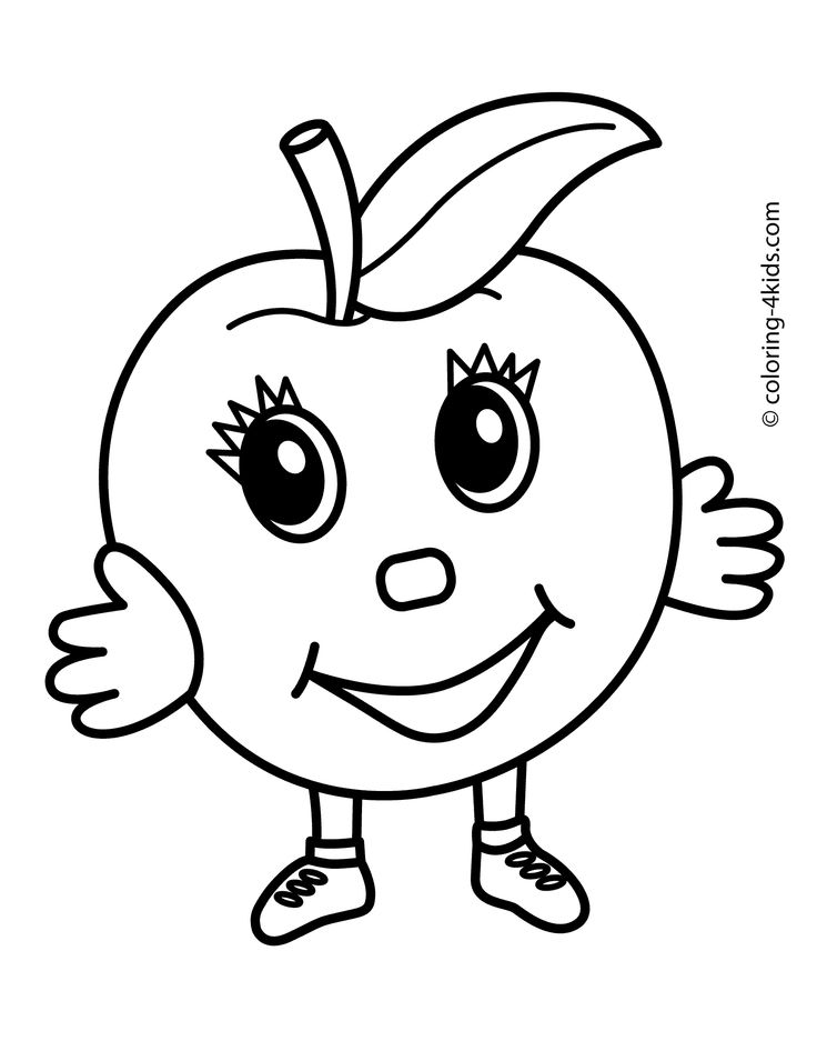 Apple character Fruits coloring
