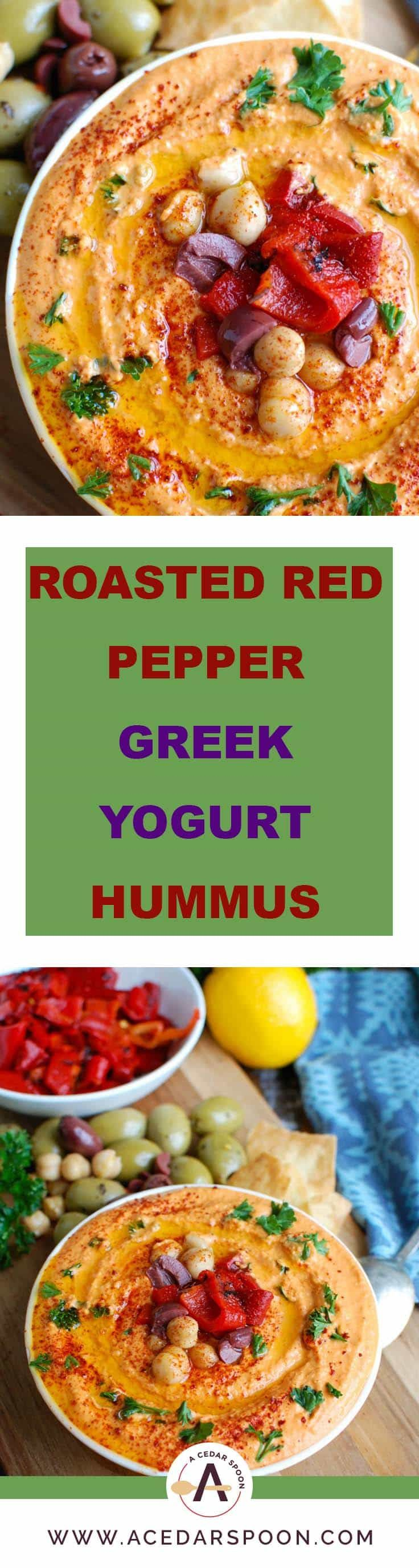 Roasted Red Pepper Greek Yogurt Hummus is a creamy dip that pairs nicely with pita bread or fresh vegetables. Chickpeas, tahini, lemon juice, spices and fire roasted red peppers are blended with Greek yogurt for added protein and creaminess making this not only healthy, but delicious!