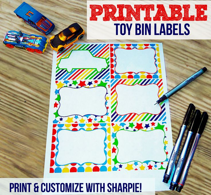 Free Printable Toy Bin Labels | Print and Customize with Sharpie! #EverydaySharpie #pmedia #ad