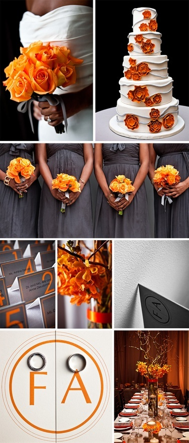 grey + orange wedding