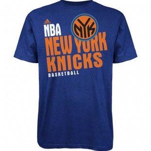 New York Knicks NBA Stacked Extreme Adidas T-Shirt (Blue)