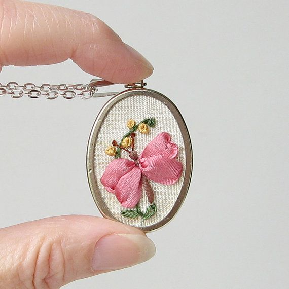 Butterfly necklace embroidered silk ribbon by bstudio on Etsy
