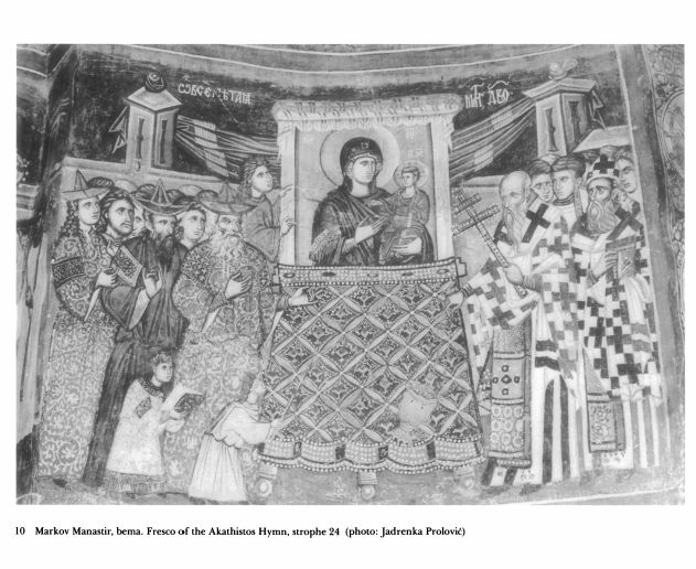 fresco procession - of Akathistos hymn  pictures of procession -> why? movement church? + again interesting textiles