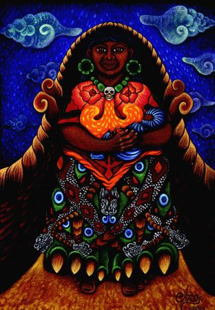 """Coatlicue, the Aztec Mother of the Gods. The word Coatlicue is Nahuatl for """"the one with the skirt of serpents"""". She is referred to variously by the epithets """"Mother Goddess of the Earth who gives birth to all celestial things"""", """"Goddess of Fire and Fertility"""", """"Goddess of Life, Death and Rebirth"""", and """"Mother of the Southern Stars."""""""