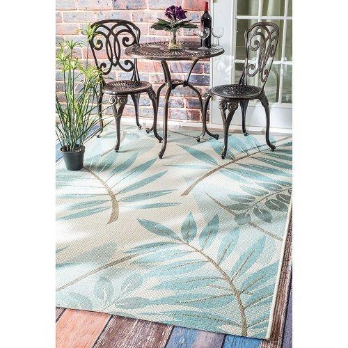 Indoor Outdoor Rug Turquoise Tropical 8' X 11' Outdoor Furniture Porch Deck   #nuLoom