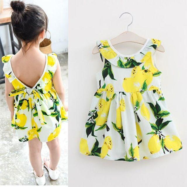 Muchachas de la manera vestido de tirantes niños bebés arropa lemon v-back vestido de las colmenas del bowknot para niños vestido de niña de verano 2016