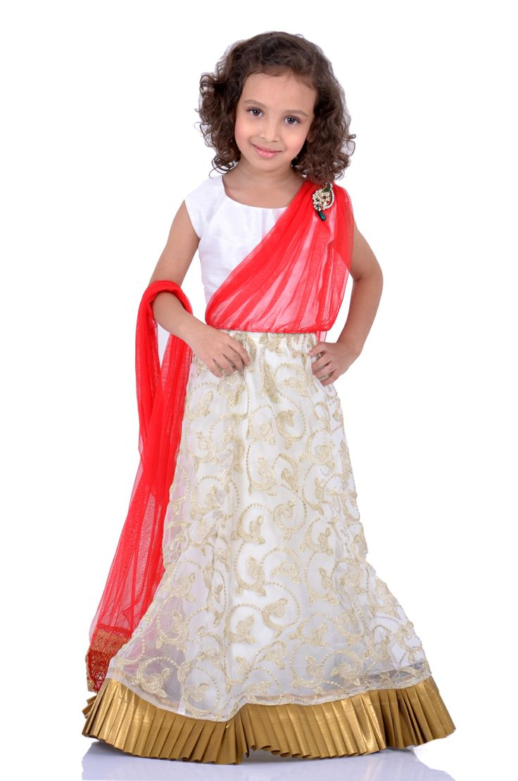 Offwhite Gold and Red Lehenga Saree : http://goo.gl/0udcJU  Give a glamourous look to your doll with this offwhite gold and red lehenga saree with the dupatta attached to the choli and the lehenga in a gorgeous offwhite and gold fabric…very classy and rich…