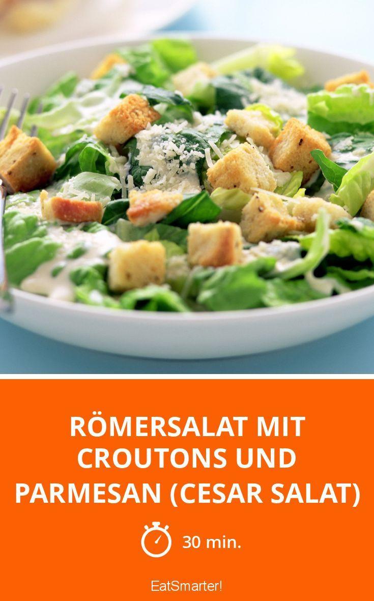 Römersalat mit Croutons und Parmesan (Cesar Salat) - smarter - Zeit: 30 Min. | eatsmarter.de