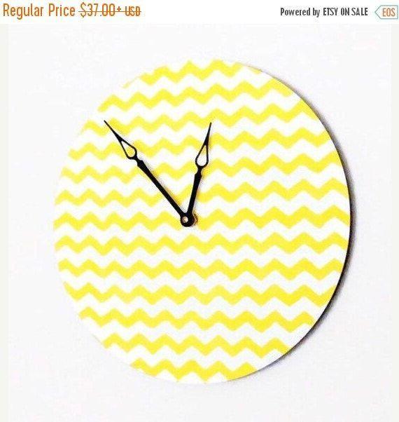 Clock, Wall Clocks, White and Yellow Chevron, Home Decor, Decor and Housewares,  Home and Living -30cm