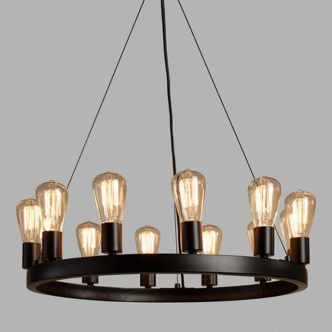 Crafted Of Iron With An Industrial Style Black Finish Our Exclusive Round Chandelier Fills A Room The Rustic Warmth 12 Edison Lights