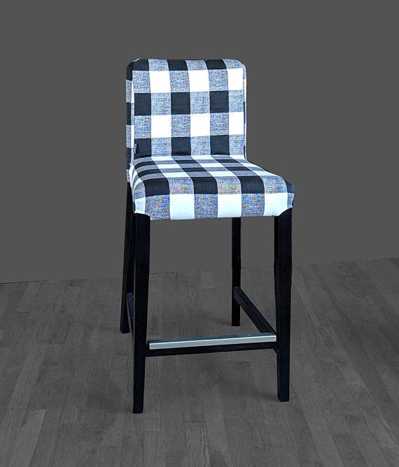 Astonishing Black Plaid Buffalo Check Print Henriksdal Bar Stool Chair Bralicious Painted Fabric Chair Ideas Braliciousco