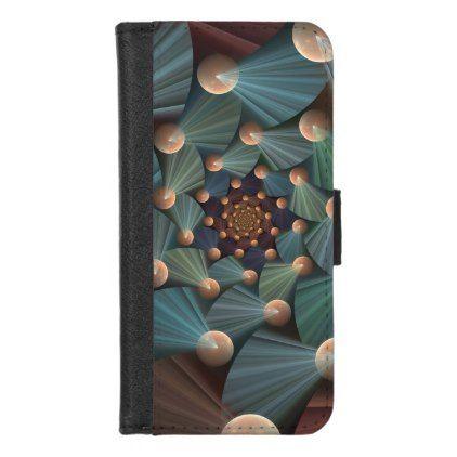 Modern Fractal Art With Depth Brown Slate Blue iPhone 8/7 Wallet Case - modern style idea design custom idea