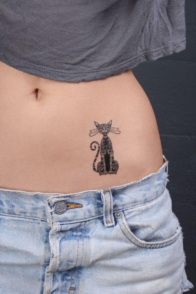 Sitting Tribal Cat Temporary Tattoo   Cattoo Design
