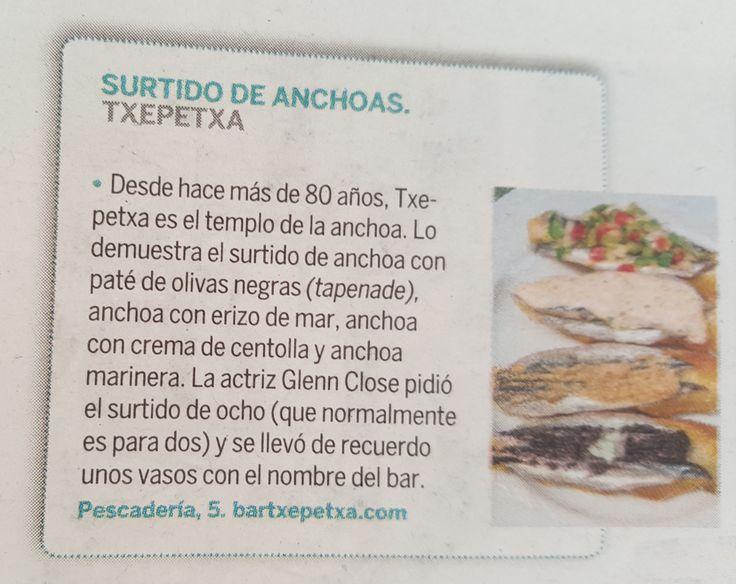 #gastronomia #gastronomy #paisvasco #txepetxa #bar #ruta #pintxos #tapas #pincho #GlennClose #anchoas #turismo #sansebastian #donostia
