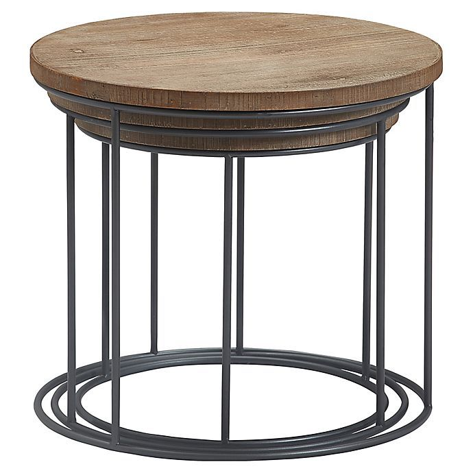Tommy Hilfiger Berkshire 3 Piece Nesting Tables Bed Bath Beyond Nesting Tables Round Metal Side Table How To Distress Wood
