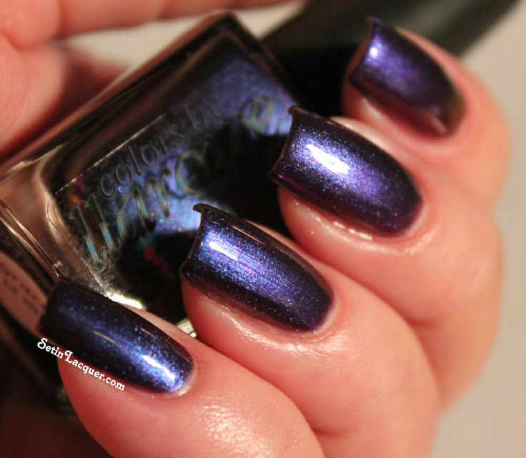 """Colors by Llarowe Grace - """"is a gorgeous duochrome. The color shifts on this one are phenomenal. It changes from purple to blue to a combination of both depending on the light. It's hard to believe that the photos below are all of the same polish!"""""""