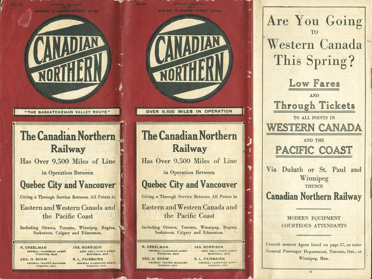 Canadian Northern Railway timetable Spring Service 1917. Front cover.