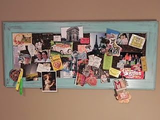 Tack board made from old cupboard door