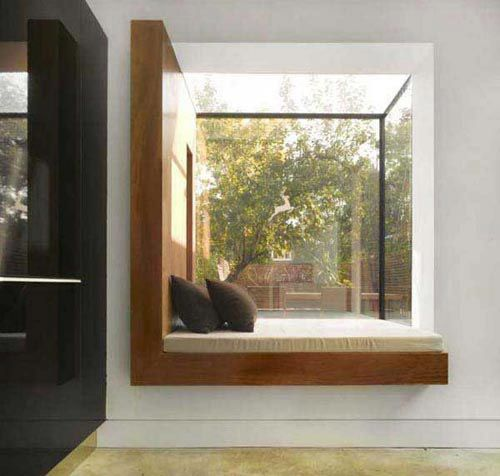 contemporary window seat with wood frame