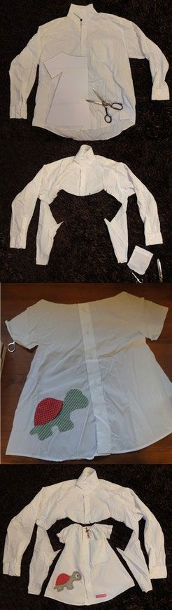 Herrenhemd wird Kinderkleid & Hose - Frau Käferin näht