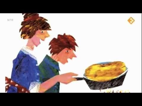 Floris wil een pannenkoek. Dan moet hij eerst helpen (tarwe oogsten, malen bij de molen, ei halen bij de kip, etc)