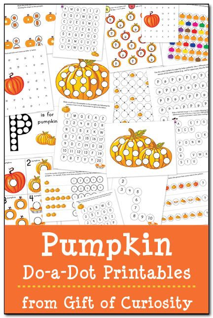 Gift of Curiosity's FREE Pumpkin Do-a-Dot Printables pack contains 18 pages of pumpkin do-a-dot worksheets. As kids complete these worksheets, they will