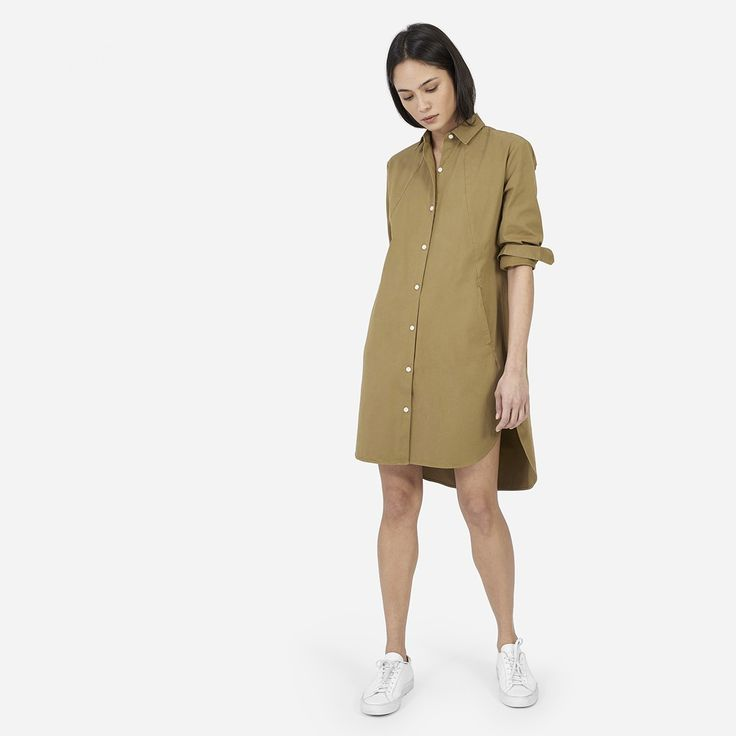 With deep pockets and an easy above-the-knee length, this shirt dress will put you in a summer state of mind. 98% cotton 2% spandex Fabric is a mid-weight cotton twill with a touch of stretch Machine wash cold, tumble dry low Features on-seam pockets, high-low shirttail hem, and bracelet length sleeves