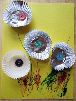 Muffin liner flowers crafts for kids lessons and activities for children in kindergarten to - Muffins fur kindergarten ...