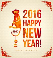 Happy Chinese New Year 2016 Greeting Card with Sitting Monkey. vector art illustration