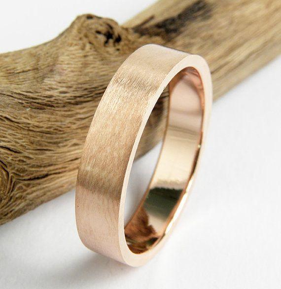 21 Badass Engagement Rings For Men -- Rose Gold Brushed Finish