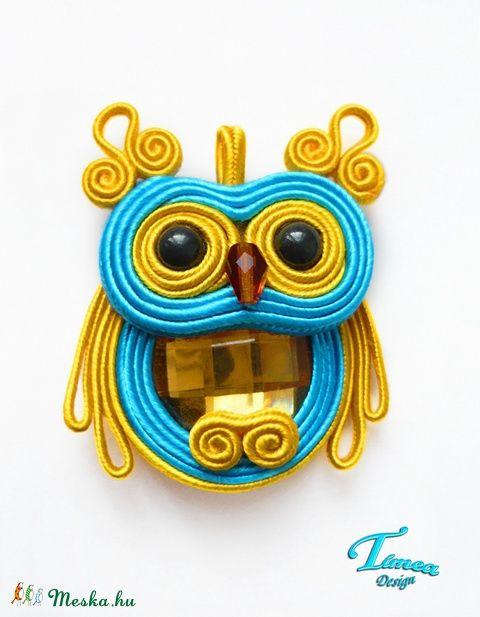 Turquoise owl soutache pendant.