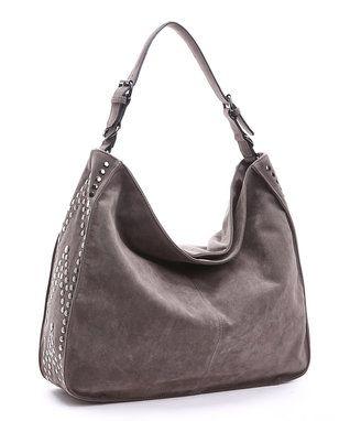 Dark Gray Embellished Hobo Bag