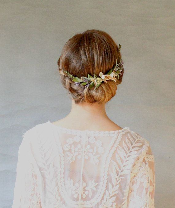 Boxwood and Lavender Bridal Hair Wreath. Bridal Reception Headpiece. Wedding Hair Accessory. Botanical Hair Comb.