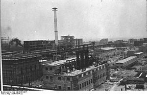 IG Farben factory in Monowitz (near Auschwitz) 1941- In October 1904, an Interessen-Gemeinschaft between Bayer, BASF and Agfa was formed, also known as the Dreibund or little IG. Profits of the three firms were pooled, with BASF and Bayer getting 43 percent and Agfa 14 percent of all profits.[7] The two alliances were loosely connected with each other through an agreement between BASF and Hoechst to jointly exploit the patent on the Heumann-Pfleger indigo synthesis.