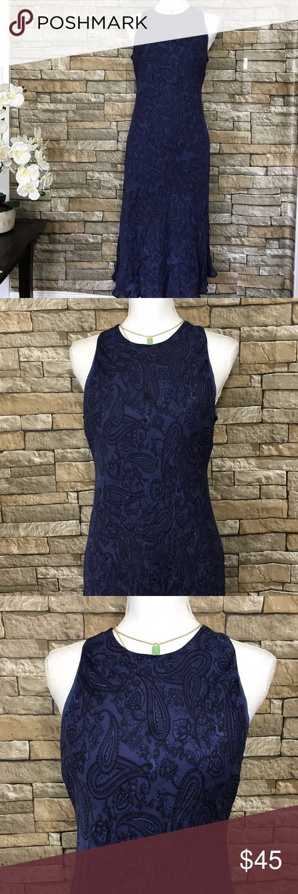 """Lauren Ralph Lauren Purple Paisley Silk Dress Beautiful Sleeveless Dress by Lauren Ralph Lauren. Paisley print. Flowing, form fitting mid-length design. Sleeveless. Material Body: 100% Silk; lining 100% Polyester.  Size 10  Measurements (laid flat) Armpit to armpit 19.5"""" Waist 17"""" Length 44.5"""" from top of shoulder  Condition Excellent condition pre-owned. No flaws noted. Lauren Ralph Lauren Dresses Midi"""