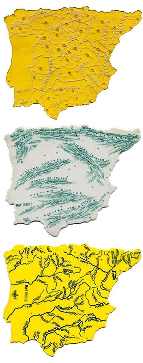 Los famosos mapas del cole: Comunidades y provincias, cordilleras y ríos.