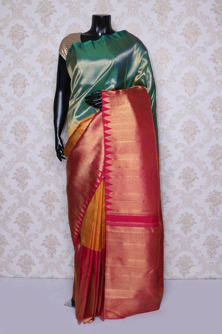 Pleasing #orange multi color pure #kanchipuram silk zari weaved #saree -SR14078