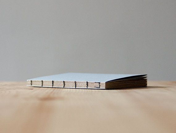 Small Light Blue Paper Cover Coptic Stitch Notebook  by knotbooks