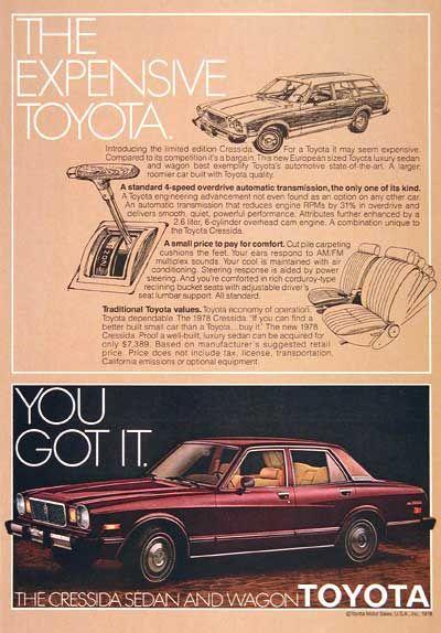 1978 Toyota Cressida Ad