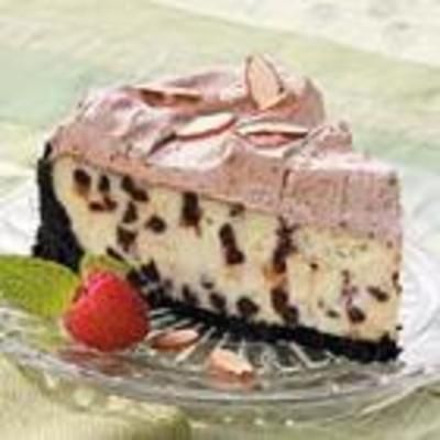 Frosted Chocolate Chip Cheesecake, i would omit the frosting..don't ruin a good thing